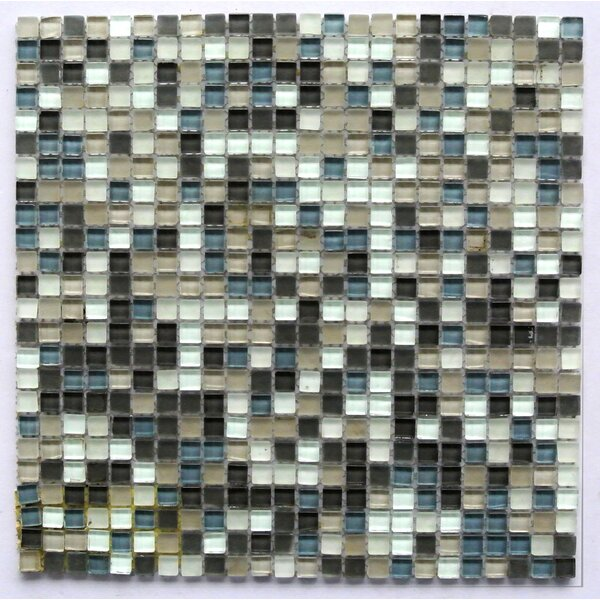 Petite 0.38 x 0.38 Glass Mosaic Tile in Nickel by Abolos