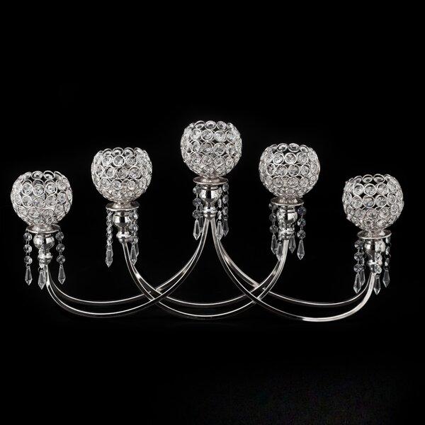 Crystal Bead Tabletop Metal Candelabra by House of Hampton