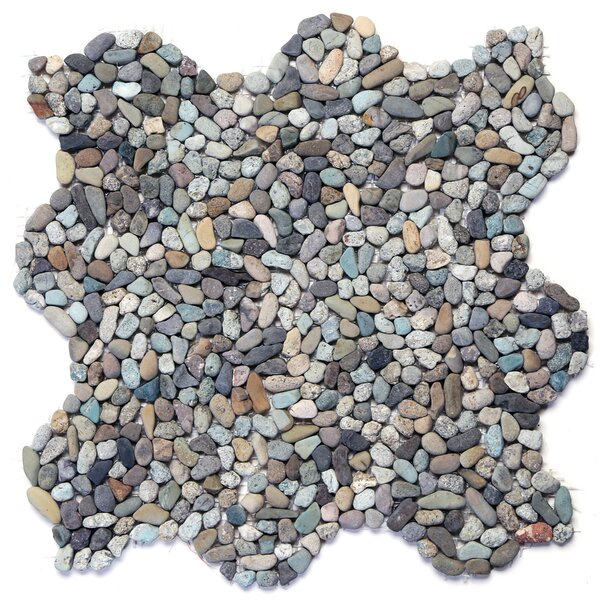 Decorative Random Sized Natural Stone Pebble Tile in Cayman Blue by Solistone