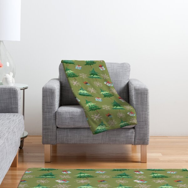 Christmas Trees and Snowflakes Fleece Polyester Throw Blanket by Mercury Row