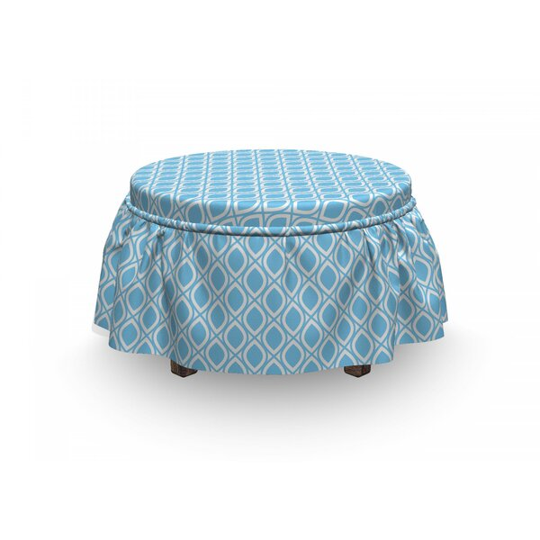 Abstract Oval Shapes Retro Art 2 Piece Box Cushion Ottoman Slipcover Set By East Urban Home