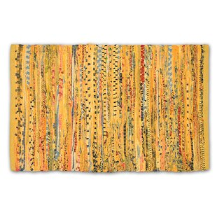 One-of-a-Kind Ledesma Striped Rag Hand-Knotted 4' x 6' Cotton Mustard Area Rug by Bloomsbury Market