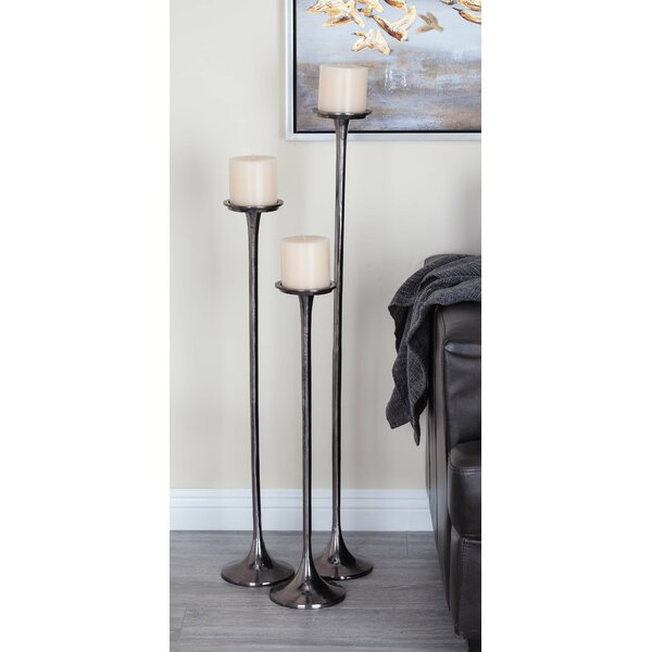 3 Piece Aluminum Candle Holder Set by Cole & Grey