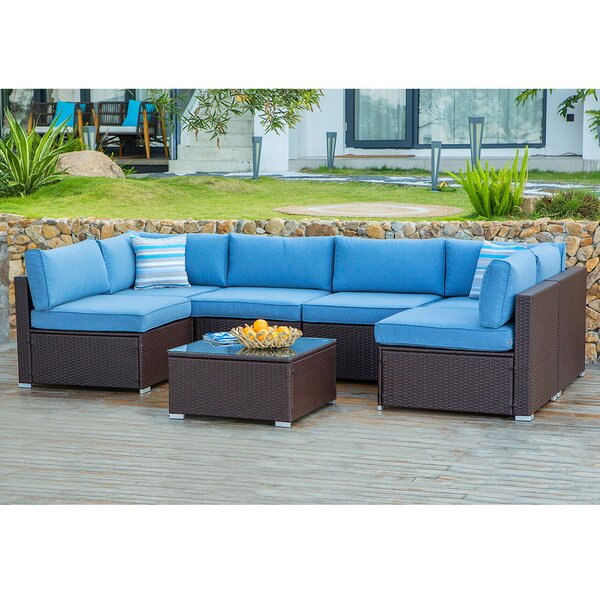 Genevieve 7 Piece Rattan Sectional Seating Group with Cushions by Bayou Breeze
