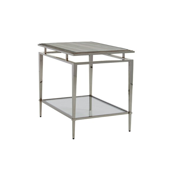 Review Ariana Athene Glass Top End Table With Storage