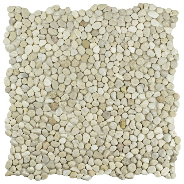 Kamyk 12.25 x 12.25 Pebble Stone Mosaic Tile in Beige by EliteTile