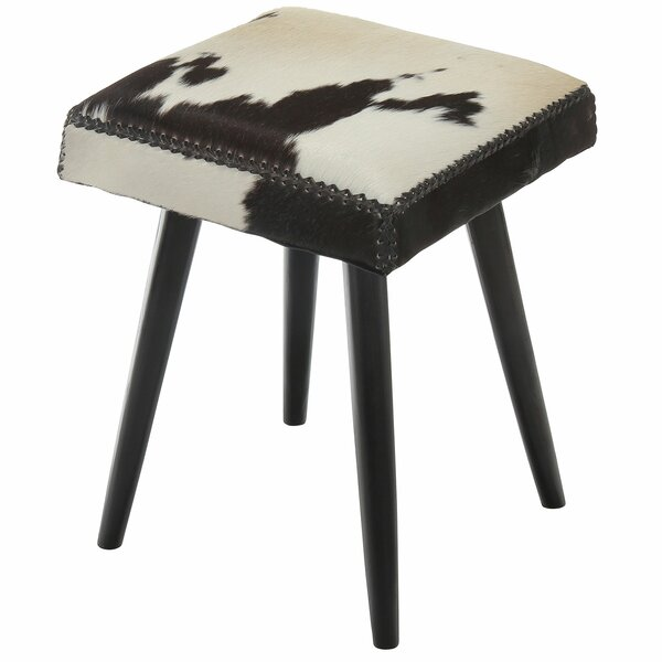 Syston Cowhide and Mahogany Accent Stool by Brayden Studio