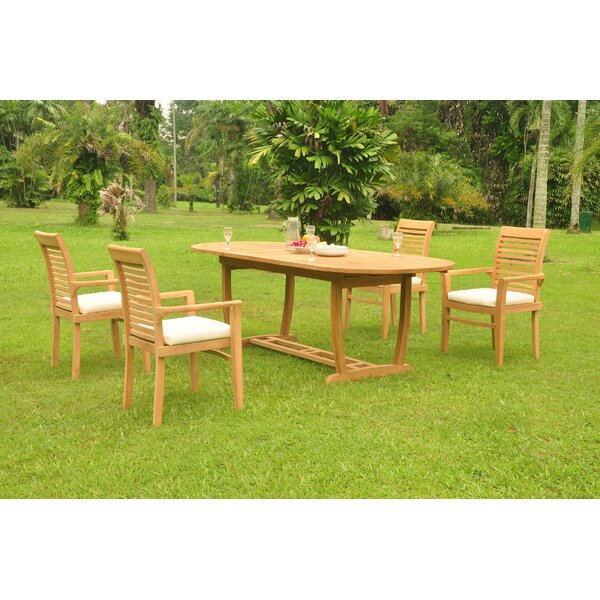 Gaenside 5 Piece Teak Dining Set by Rosecliff Heights