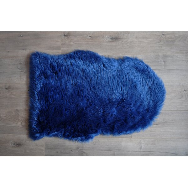 Faux Sheepskin Blue Area Rug by Kroma Carpets