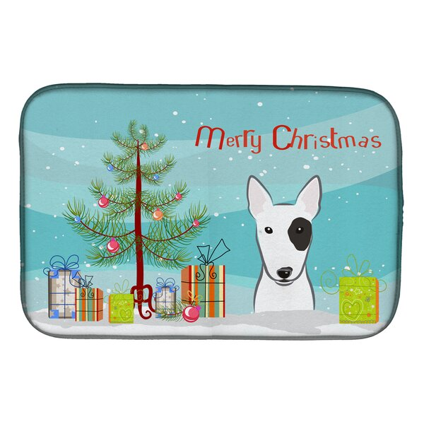 Christmas Tree and Bull Terrier Dish Drying Mat by Caroline's Treasures