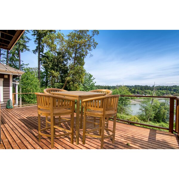 Tovar Patio 5 Piece Teak Bar Height Dining Set by Bayou Breeze
