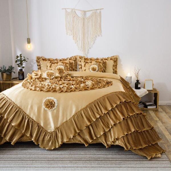 Tatro Latte Ruffle Luxury Comforter Set
