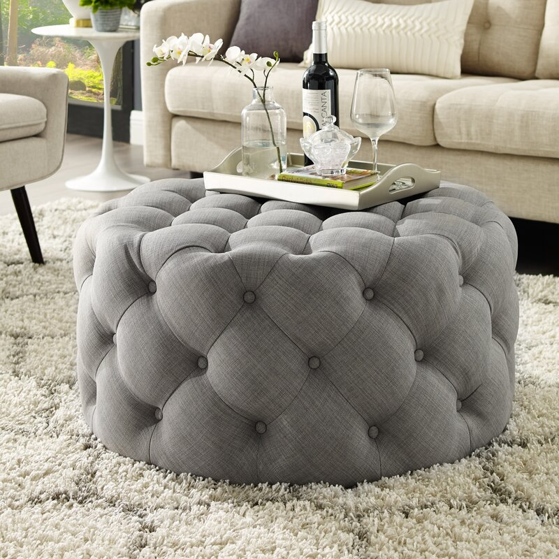 House Of Hampton Mudge Round Tufted Cocktail Ottoman Reviews