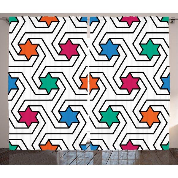 Klara House Graphic Print and Text Semi-Sheer Rod Pocket Curtain Panels (Set of 2) by Latitude Run