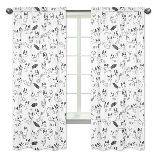 Fox Window Wildlife Rod Pocket Curtain Panels (Set of 2) by Sweet Jojo Designs