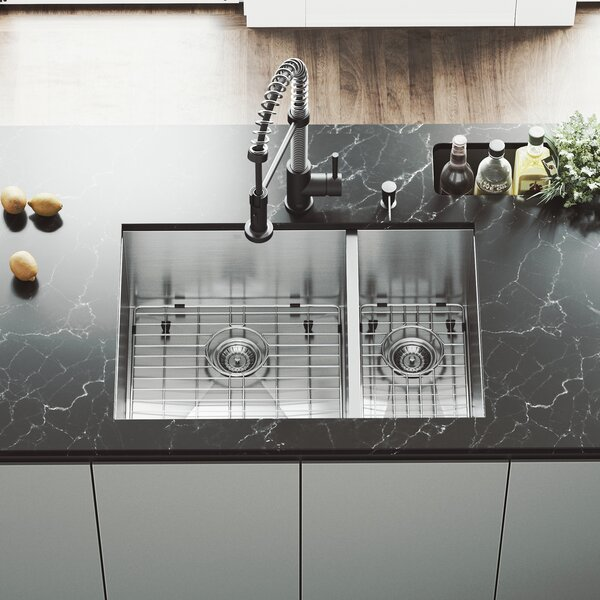 Edison 29 L x 20 W Double Basin Undermount Kitchen Sink with Faucet, Grids, Strainers and Dispenser by VIGO