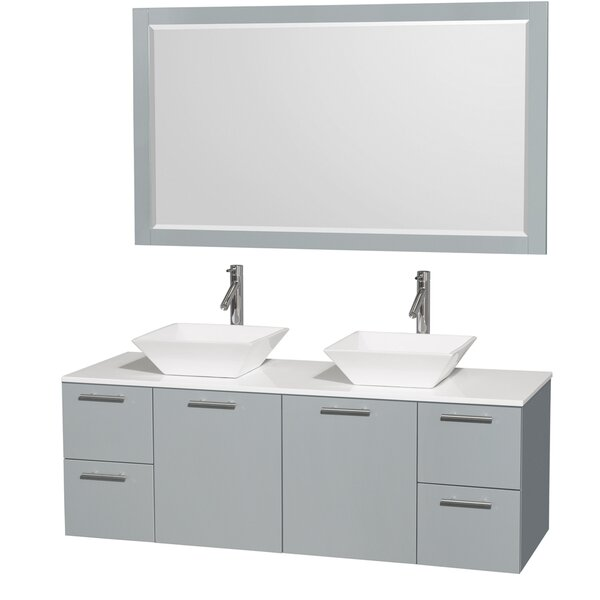 Amare 60 Double Oyster Gray Bathroom Vanity Set with Mirror by Wyndham Collection