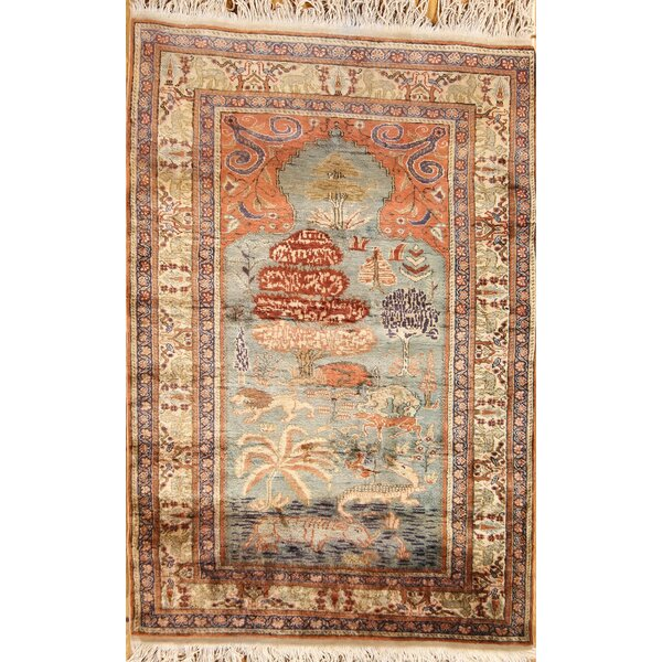 Bloxom Oushak Turkish Traditional Oriental Geometric Hand-Knotted Silk Beige/Brown Area Rug by Bloomsbury Market
