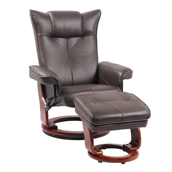 Temescal Leather Manual Swivel Recliner with Ottoman Red Barrel Studio W002200846