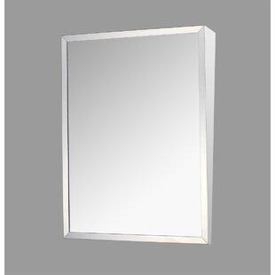 Crewkerne Stainless Steel Mirror 36 x 18 Surface Mount Framed Medicine Cabinet Adjustable Shelves ByEbern Designs