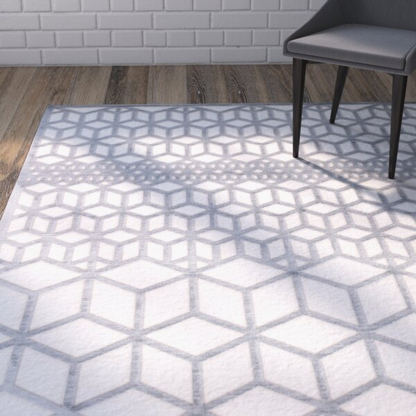 Helene Gray/White Area Rug by Wrought Studio