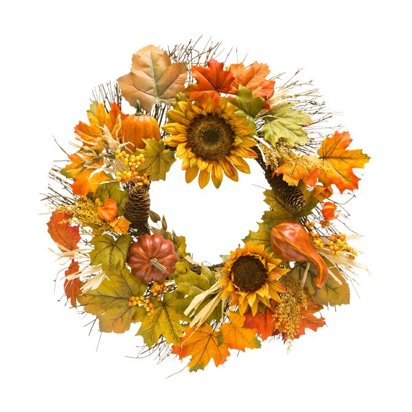 Autumn Sunflower Berry and Pumpkin 22 Wreath by The Holiday Aisle