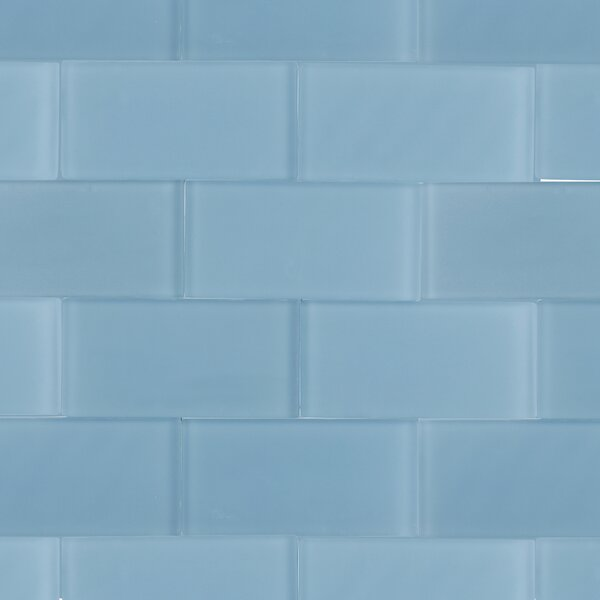 Contempo 3 x 6 Glass Subway Tile in Blue by Splashback Tile