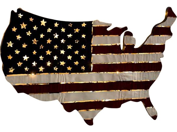 Lighted Americana Flag Art Wall Décor by Plow & Hearth