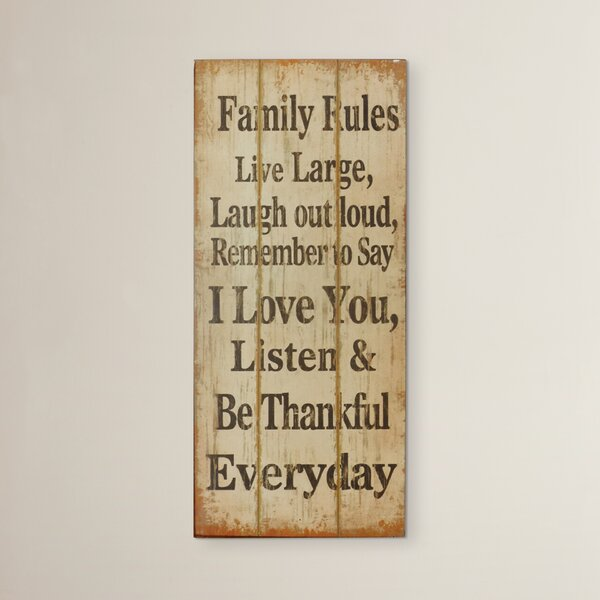 Opheim Family Rules Textual Art on Wood by August Grove
