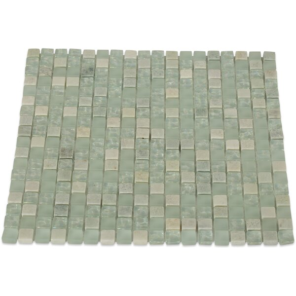 Emerald Bay 0.5 x 0.5 Mixed Material Mosaic Tile in Green by Splashback Tile