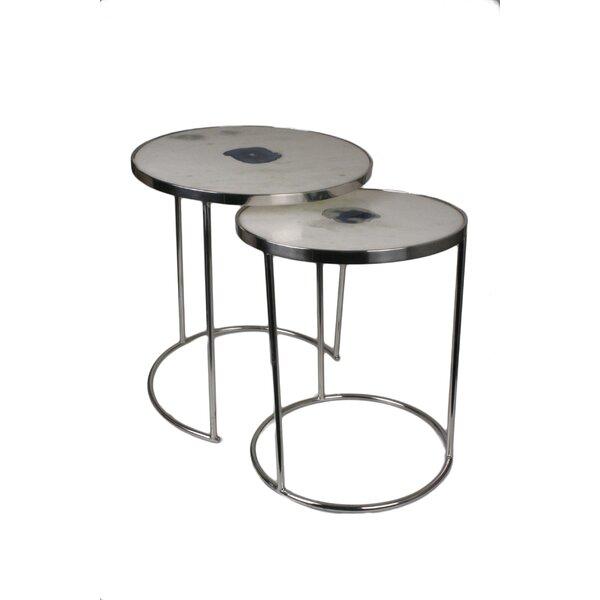 Marble Round 2 Piece Nesting Tables by Jodhpuri