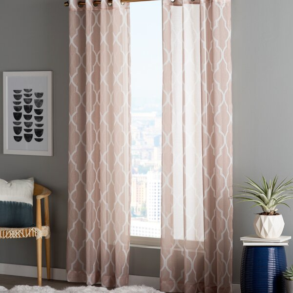 Moroccan Grommet Top Sheer Curtain Panels (Set of 2) by Best Home Fashion, Inc.