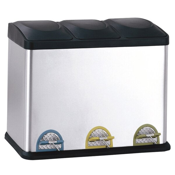 Stainless Steel 11.88 Gallon Step On Multi-Compartments Trash and Recycling Bin by Rebrilliant