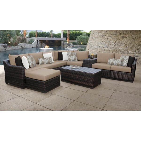 River Brook 10 Piece Outdoor Wicker Patio Furniture Set 10b by kathy ireland Homes & Gardens by TK Classics