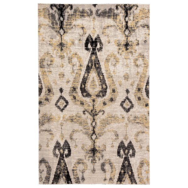 Jambi Ikat Gray/Beige Indoor/Outdoor Area Rug by World Menagerie