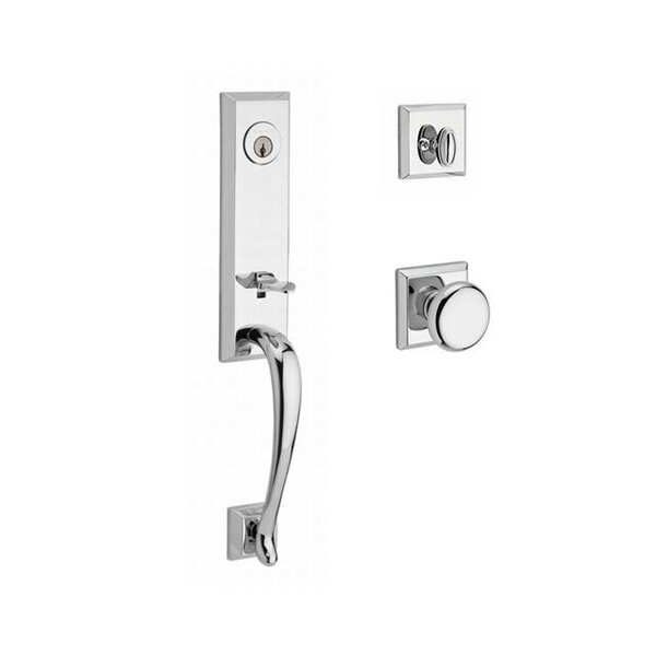Del Mar Single Cylinder Handleset with Round Door Knob and Traditional Square Rose by Baldwin