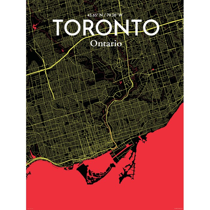 Ourposter toronto city map graphic art print poster in toronto city map graphic art print poster in contrast gumiabroncs Choice Image