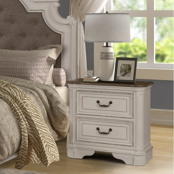 Lilia Oak Wood 2 Drawer Nightstand by One Allium Way