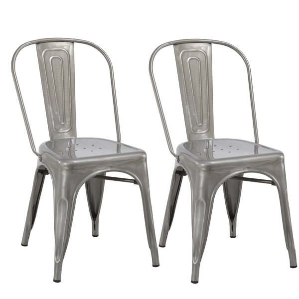 Industrial Metal Bistro Stackable Cafe Dining Chair (Set of 2) by Famis Corp