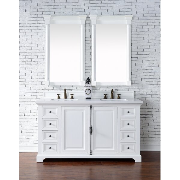 Ogallala 60 Double Rectangular Sink Cottage White Bathroom Vanity Set by Greyleigh
