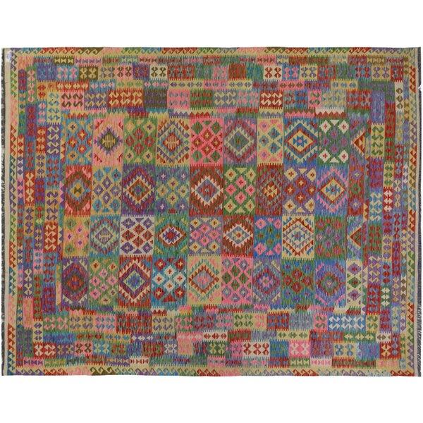 Rosalina Handmade-Kilim Wool Pink/Purple Area Rug by Bloomsbury Market