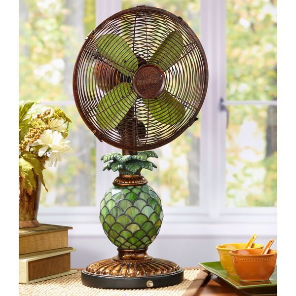 Kinard Pinapple Tiffany 10 Oscillating Table Fan by Bayou Breeze