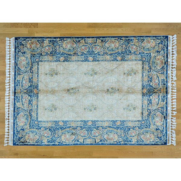 One-of-a-Kind Bemelle Esfahan Hand-Knotted Beige Silk Area Rug by Isabelline