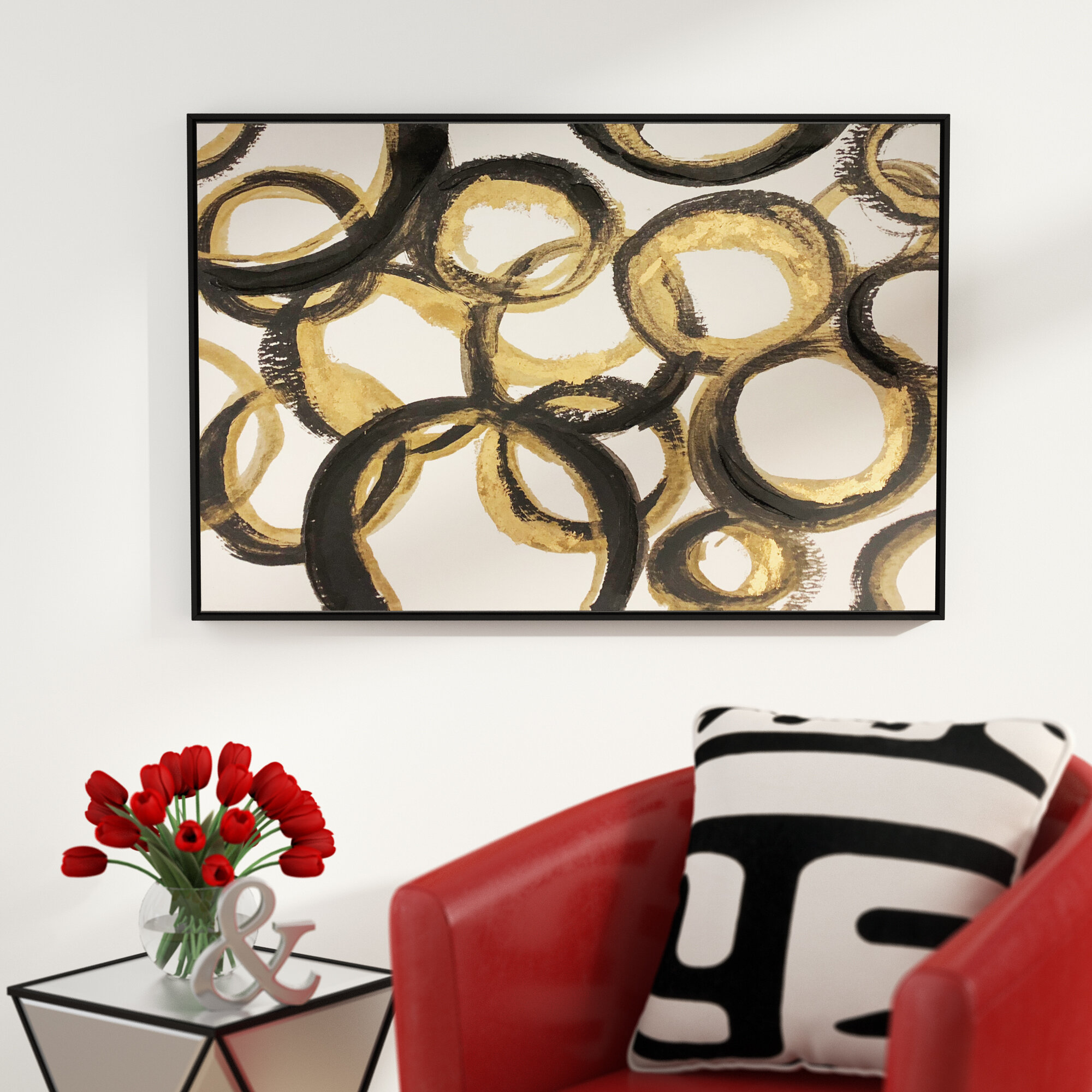 Orren Ellis Black And Gold Abstract Circles Framed Acrylic Painting