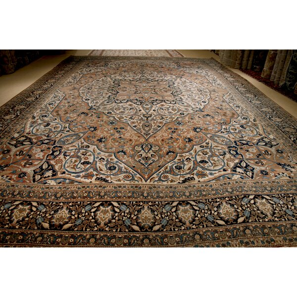 One-of-a-Kind Hand-Knotted Before 1900 Brown 15' x 22'3 Wool Area Rug