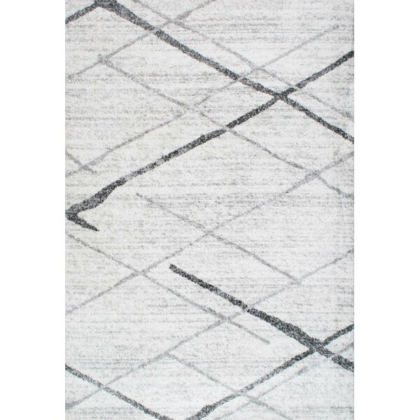 Azha Broken Light Gray Area Rug by Mercury Row