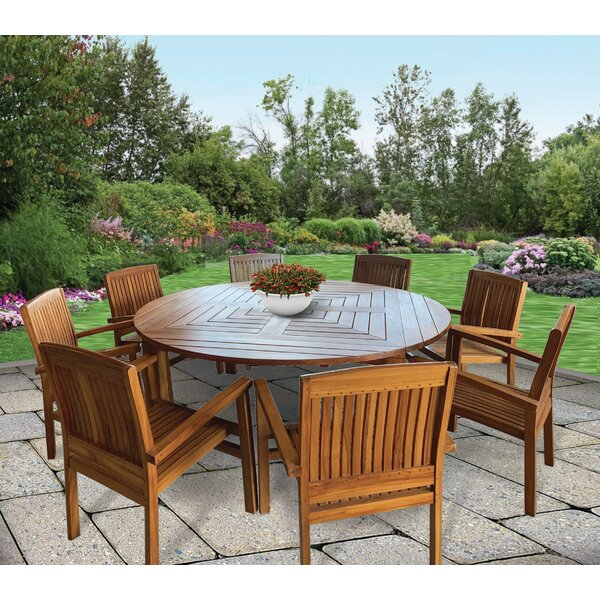 Gosling 9 Piece Teak Dining Set by Rosecliff Heights