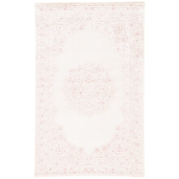 Fontanne Power Loom Ivory/Baby Pink Area Rug by Bungalow Rose