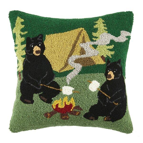 Campfire Bear Wool Throw Pillow by Peking Handicraft
