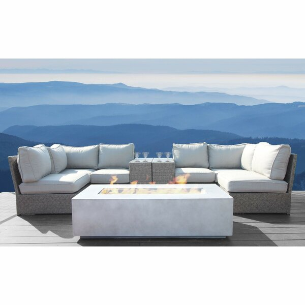 Normandy 9 Piece Rattan Sectional Seating Group with Cushions by Rosecliff Heights